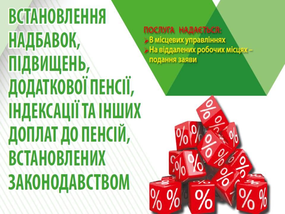 Vstanovlennya nadbavok pidvyshhen dodatkovoyi pensiyi indeksatsiyi ta inshyh doplat do pensij vstanovlenyh zakonodavstvom